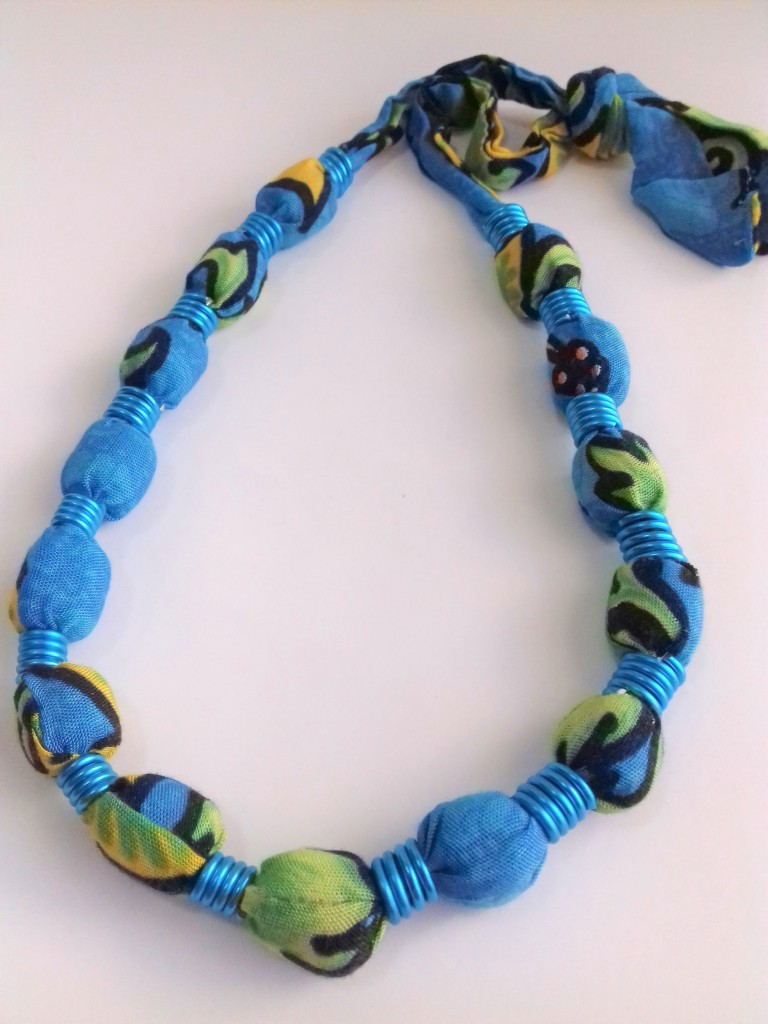 fabric covered beaded necklace