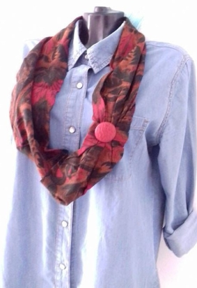 light wool red floral scarf necklace